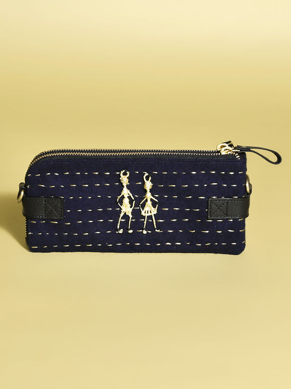 Navy Blue Leather Sling Bag