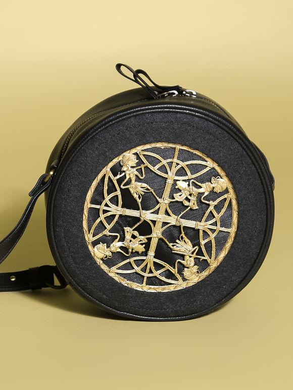 Black Leather Circular Sling Bag