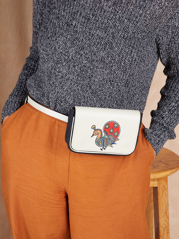 Ivory Hand Painted Madhubani Peacock Leather Belt Bag