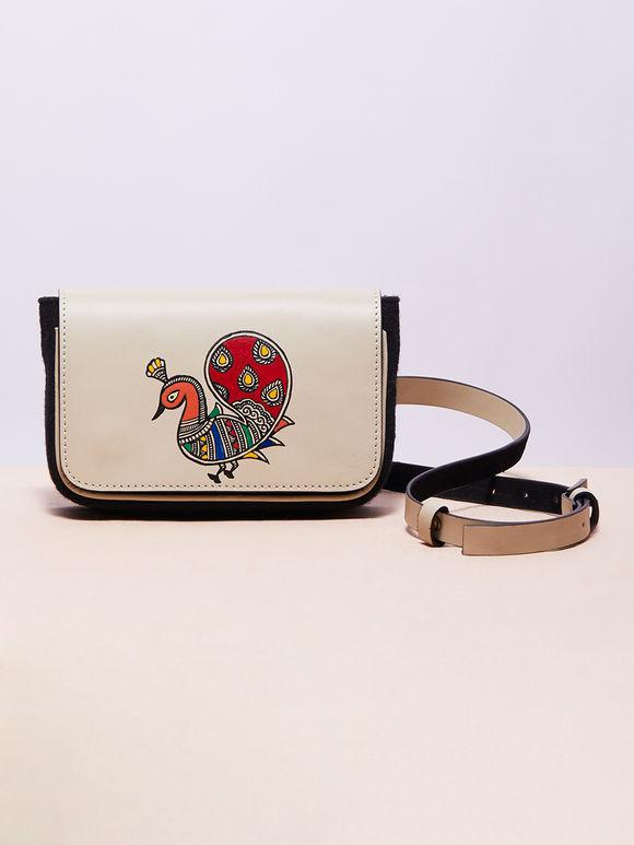Ivory Hand Painted Madhubani Peacock Leather Belt Bag