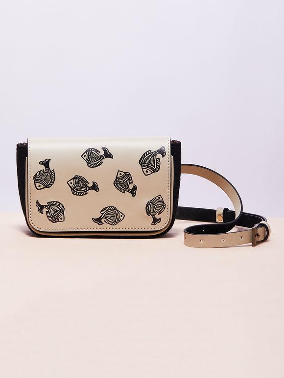 Ivory Hand Painted Madhubani Fish Leather Belt Bag