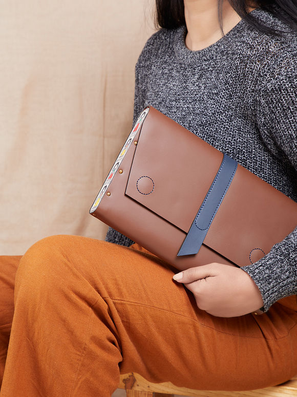 Brown Handcrafted Envelop Leather Clutch