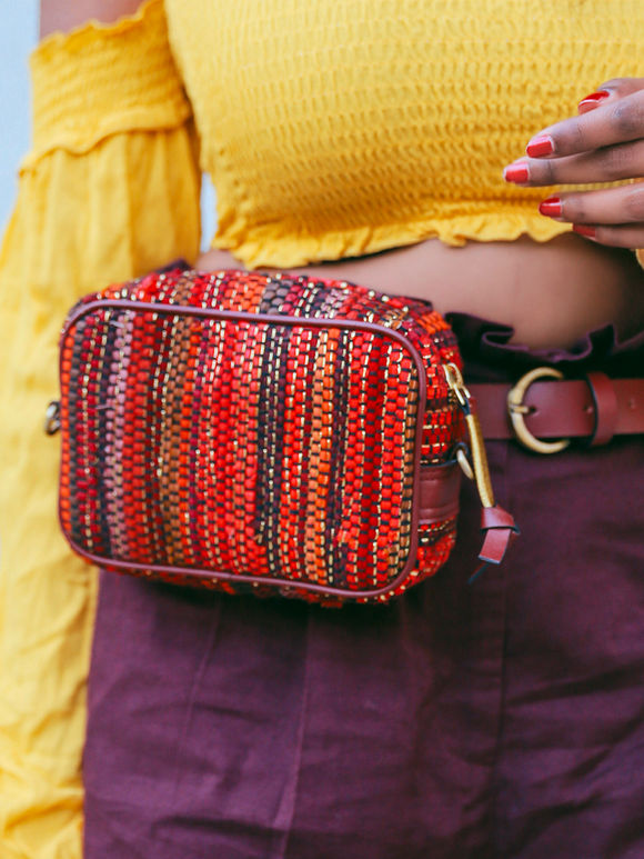 Pink Red Handwoven Fabric Boxy Sling Bag