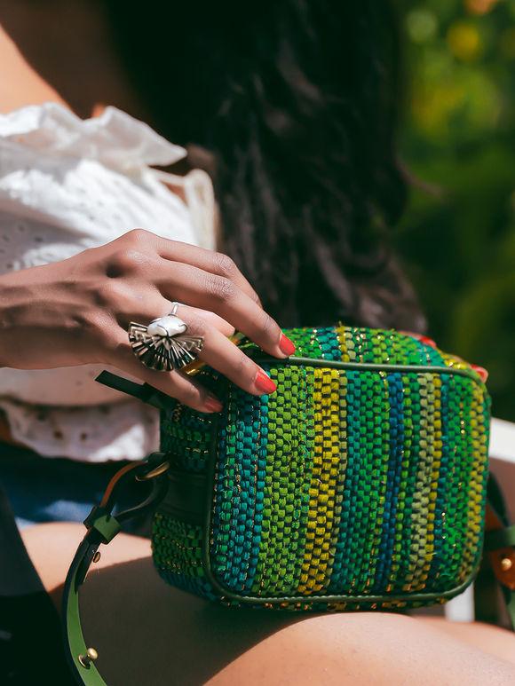 Green Handwoven Fabric Boxy Sling Bag