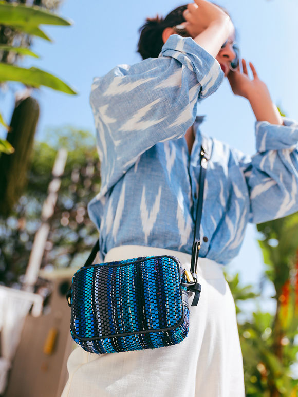 Blue Handwoven Fabric Boxy Sling Bag