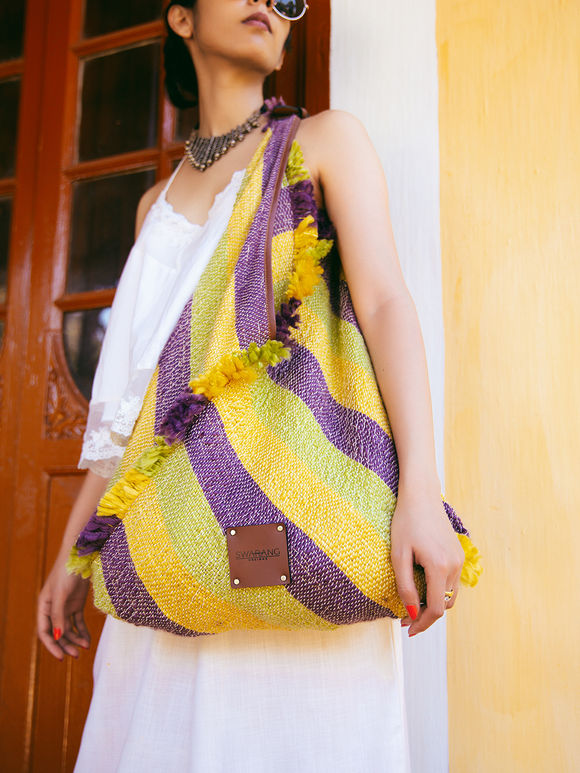 Yellow Violet Handwoven Fabric Jhola Bag