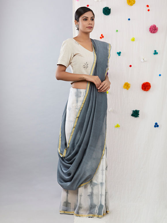 Grey White Tie and Dye Chanderi Saree
