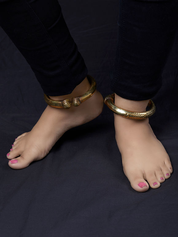 Gold Toned Handcrafted Brass Anklet - Set of 2