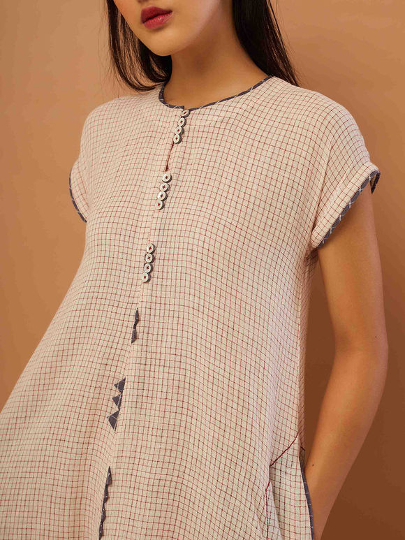 Ivory Checkered Cotton Dress