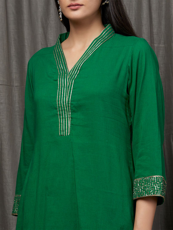 Green Hand Embroidered Cotton Suit - Set of 3