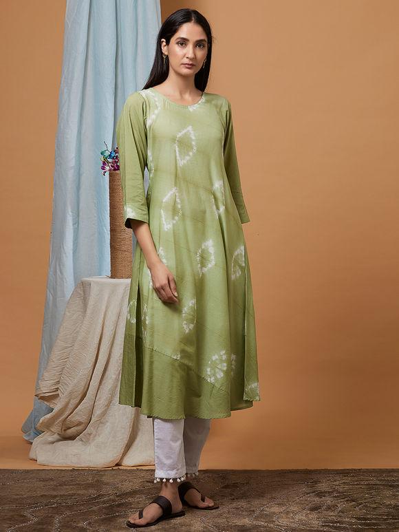 Green Shibori Dyed Muslin Cotton Kurta with White Cotton Pants and Dupatta- Set of 3