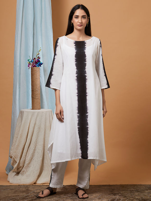 Black White Tie and Dye Muslin Cotton Kurta with Pants and Dupatta- Set of 3