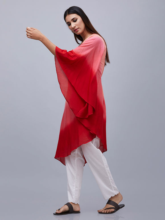 Peach Red Ombre Cotton Kaftan