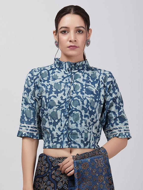 Indigo Printed Cotton Blouse