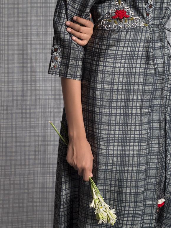 Black Grey Tusser Silk Checkered Asymmetric Dress