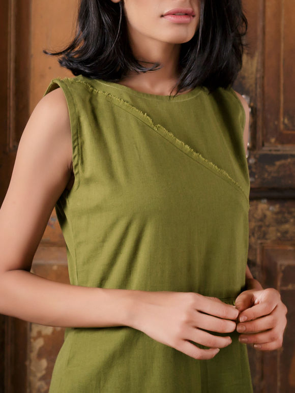 Olive Green Handloom Khadi Sleeveless Dress