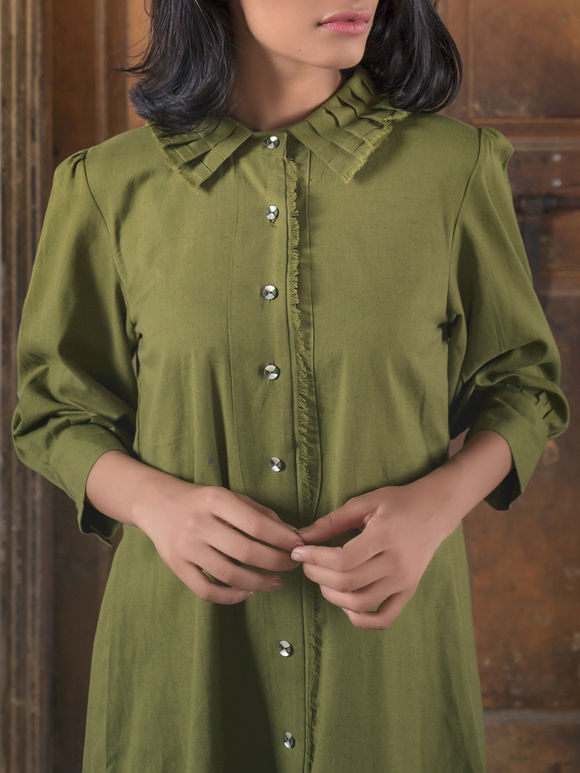 Olive Green Brown Handloom Khadi Shirt Dress