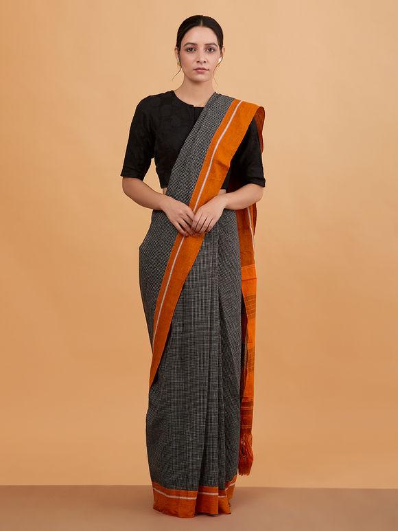 Black Orange Checkered Cotton Saree
