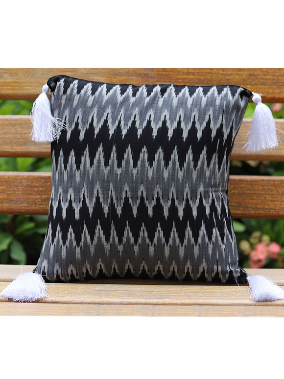 Black Grey Ikat Cotton Cushion Cover