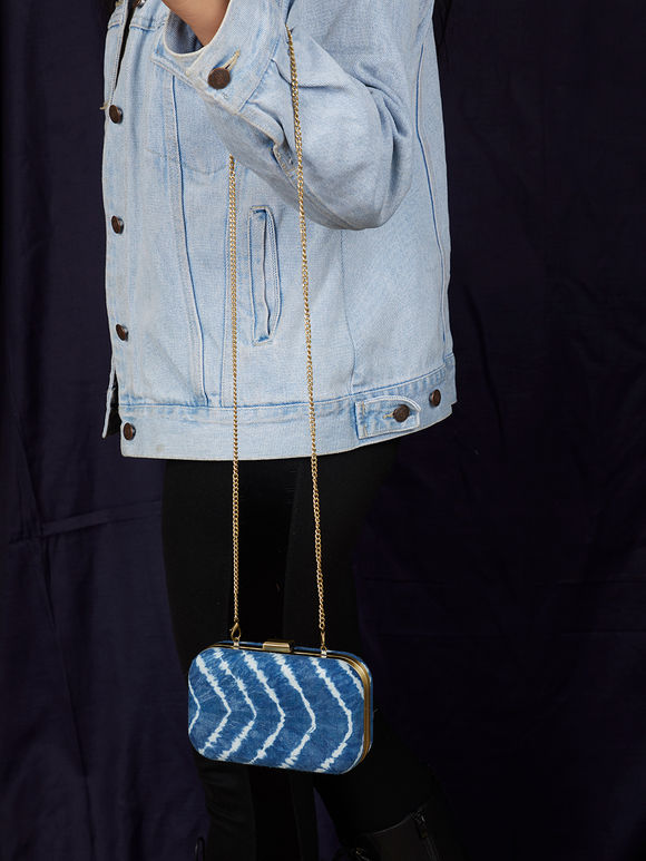 Indigo Tie and Dyed Fabric Clutch
