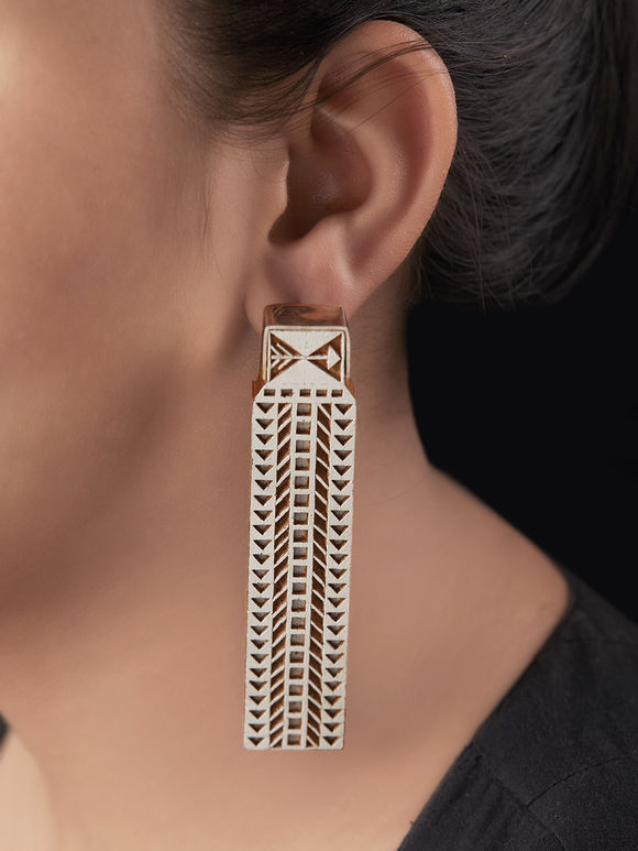 Ivory Brown Handcrafted Silver Wood Earrings