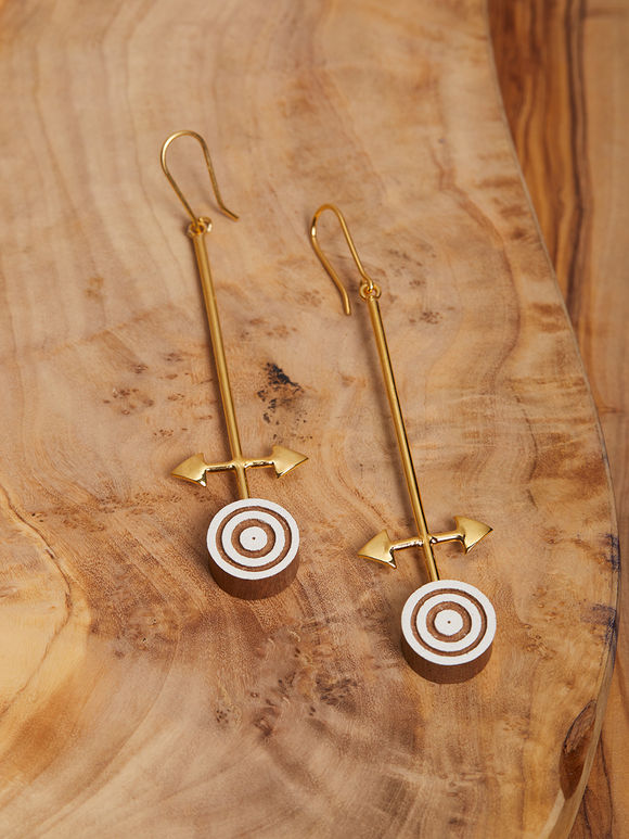 Ivory Gold Toned Handcrafted Brass Wood Earrings