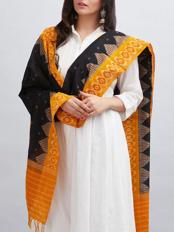Black Yellow Cotton Ikat Dupatta
