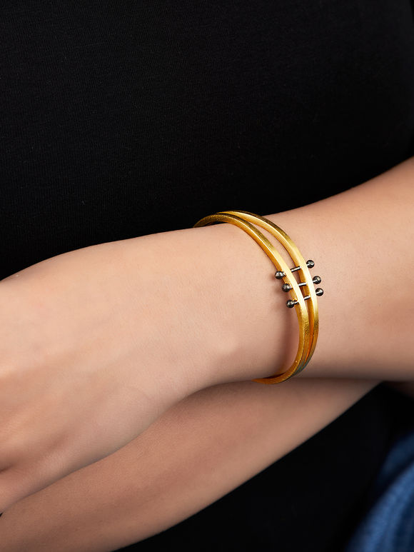 Gold Toned Black Handcrafted Layered Silver Bracelet