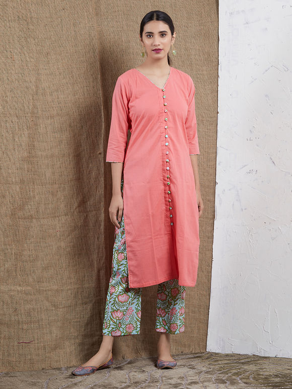 Peach Cotton Mulmul Kurta with Mint Green Hand Block Printed Pants and Dupatta- Set of 3