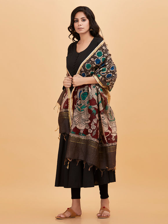 Brown Blue Green Hand Painted Kalamkari Chanderi Dupatta