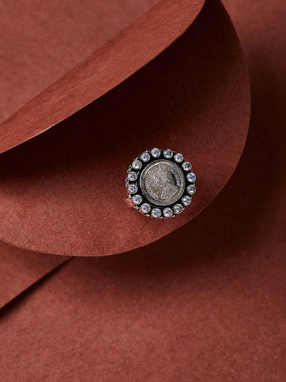 White Victoria Empress Silver Ring