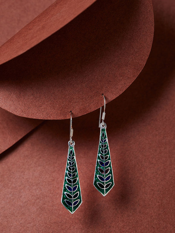 Green Blue Meenakari Silver Earrings