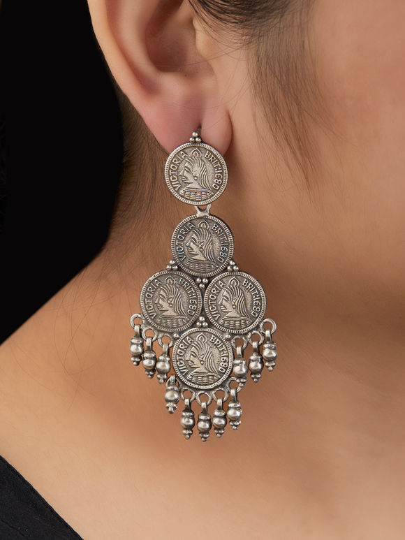 Tribal Handcrafted Silver Coin Earrings