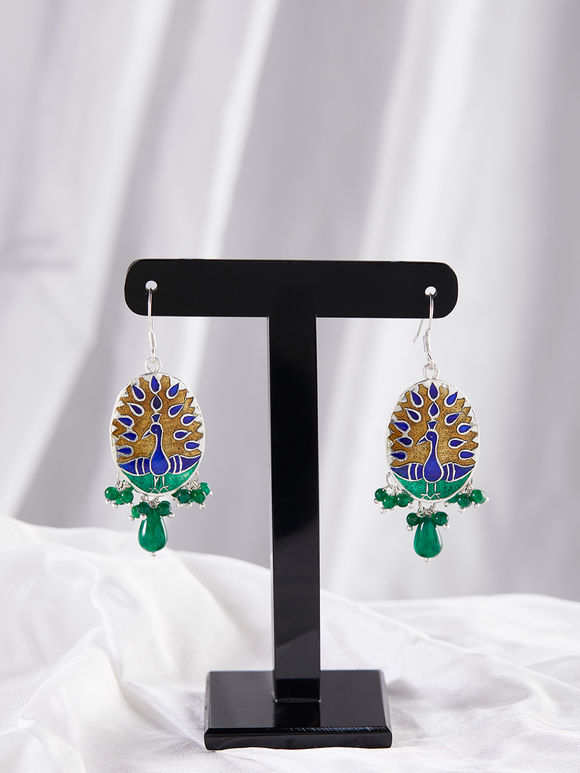 Blue Green Peacock Meenakari Silver Earrings
