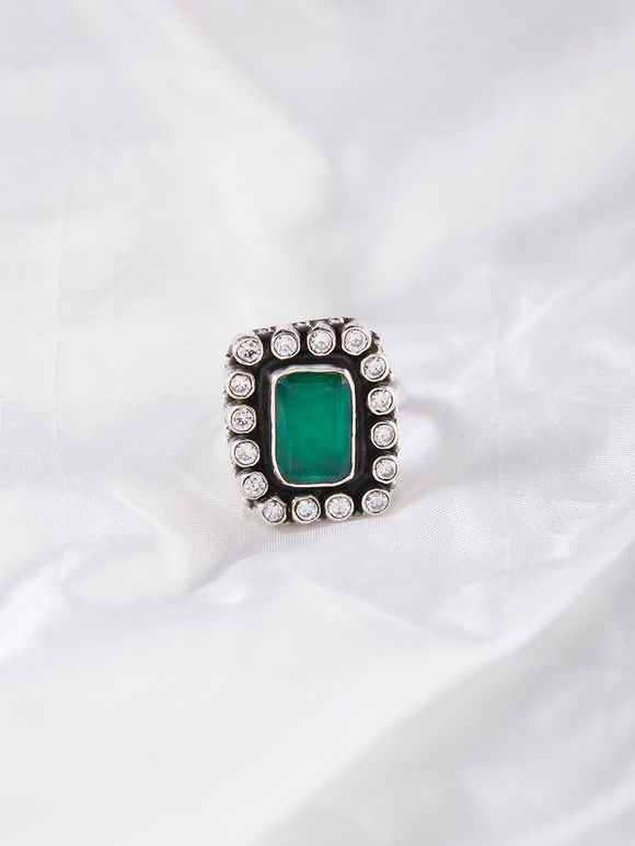 Green Handcrafted Silver Ring