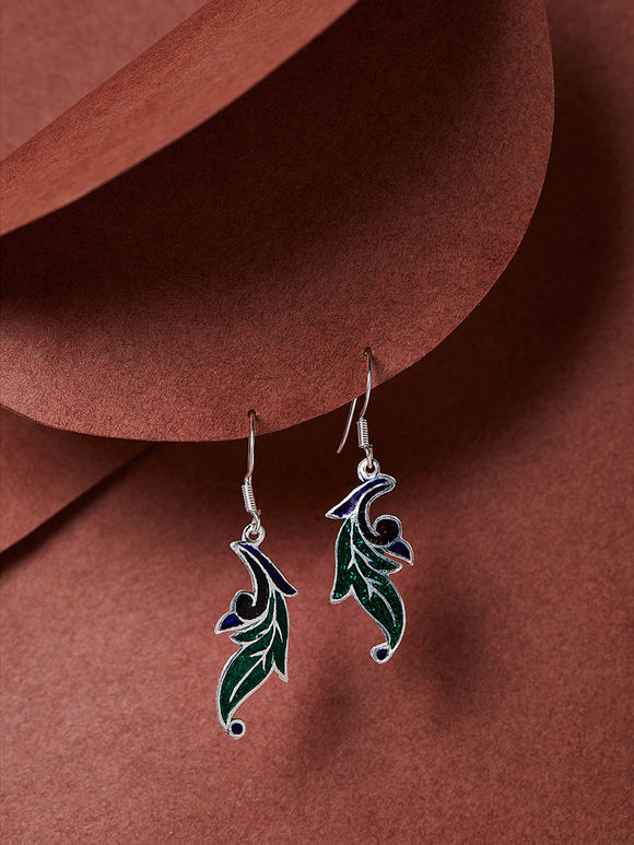 Green Blue Meenakari Silver Earrings
