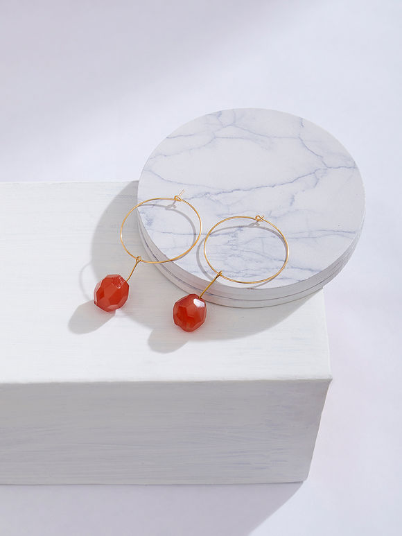 Orange Handcrafted Metal Hoop Earrings