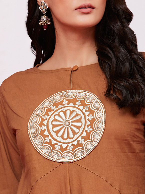 Tan Hand Embroidered Cotton Flared Kurta with Off White Palazzo - Set of 2