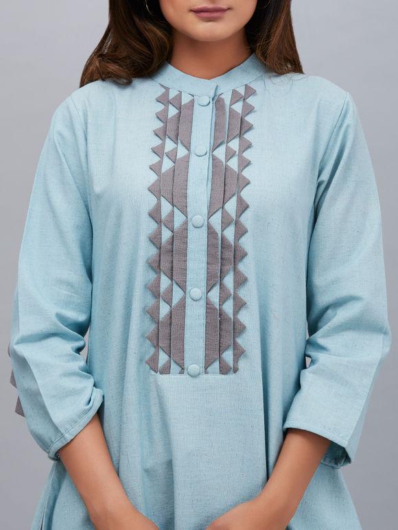 Powder Blue Khadi Cotton Asymmetric French Kurta with Palazzo - Set of 2