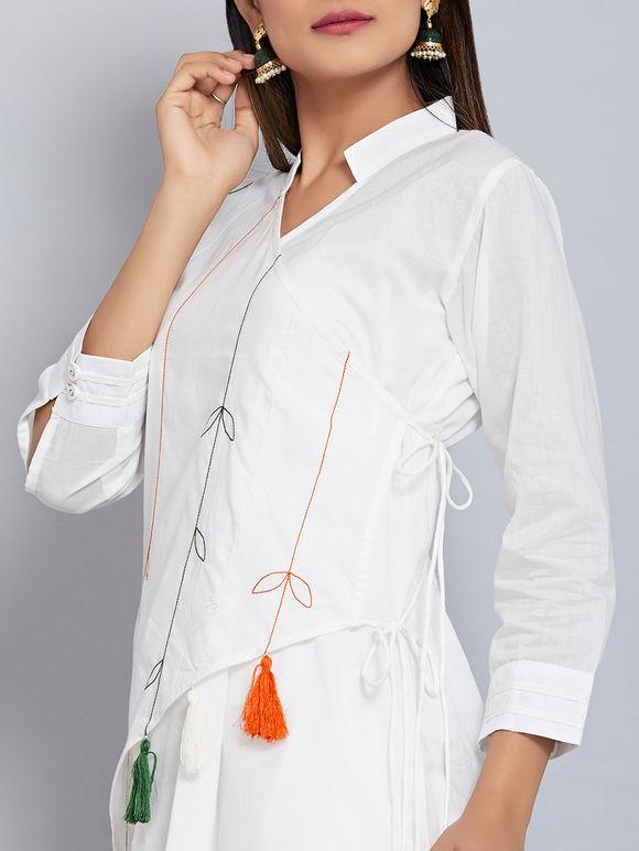 Off White Hand Embroidered Cotton Mulmul Tasseled Angrakha Kurta with Flared Palazzo - Set of 2