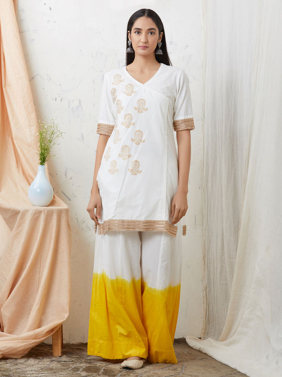 White Hand Block Printed Cotton Kurta with Yellow Ombre Palazzo and Dupatta - Set of 3