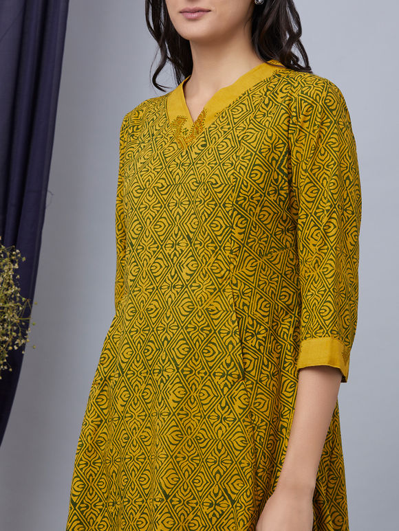 Green Hand Block Printed Cotton Dress