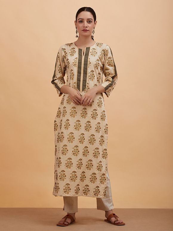 Beige Green Printed Cotton Kurta