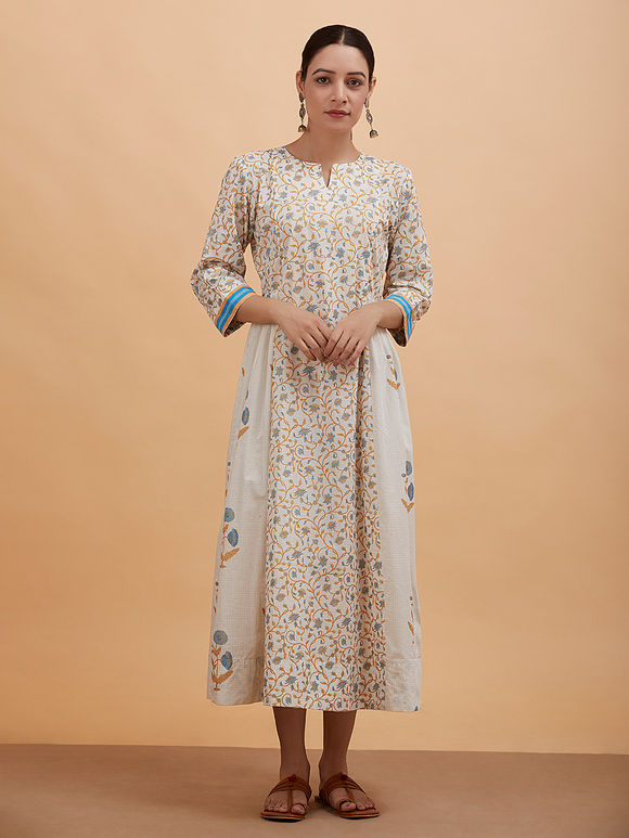 Ivory Blue Printed Cotton Dress