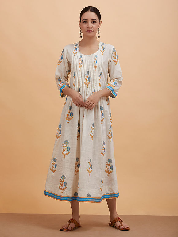 Ivory Printed Cotton Dress