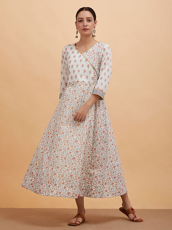 Multicolor Floral Printed Cotton Overlap Dress