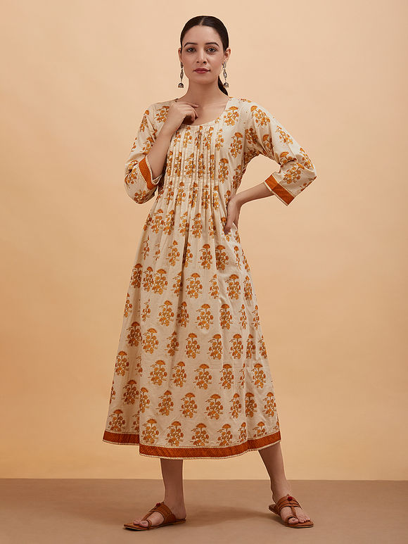 Beige Orange Printed Pleated Cotton Dress