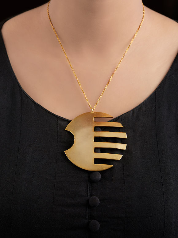 Gold Toned Handcrafted Brass Pendant Necklace