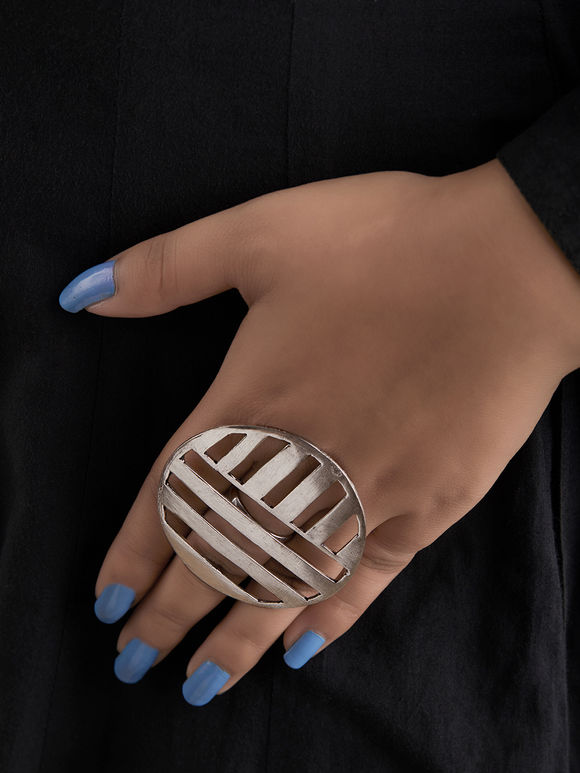 Silver Toned Handcrafted Brass Round Ring