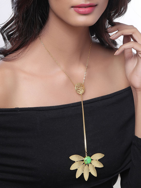 Green Golden Toned Handcrafted Brass Necklace